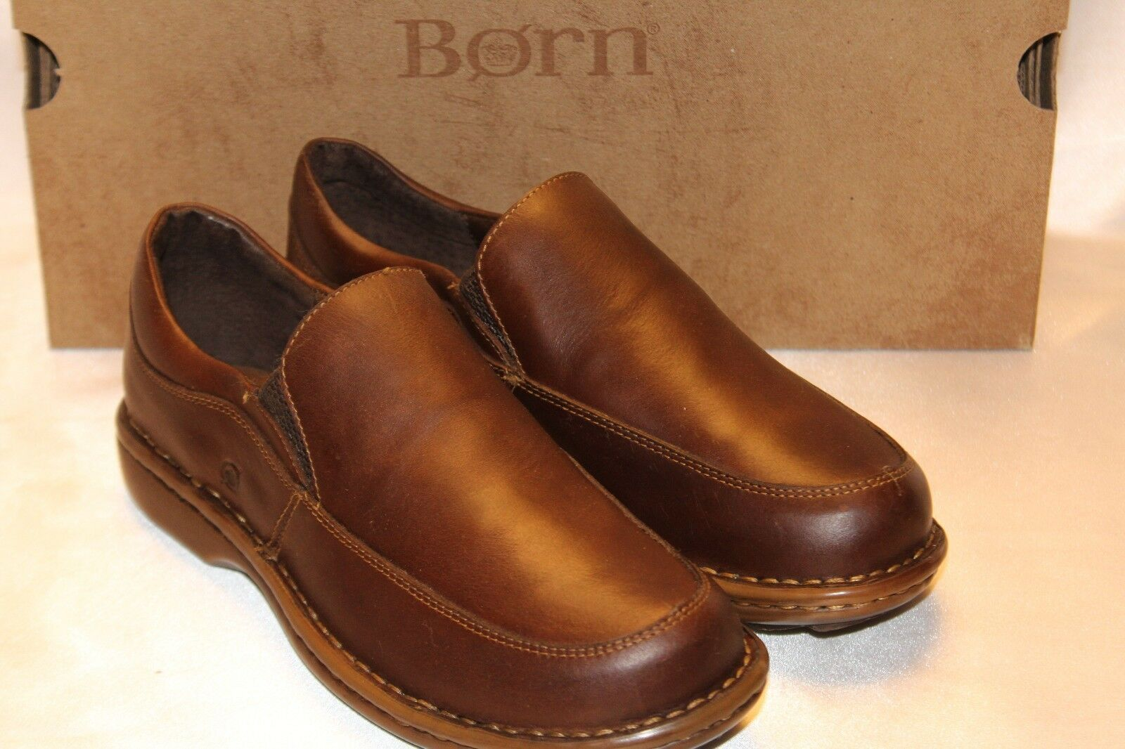 NEW  NIB  BORN Dk Brown Leather CACIE Comfort Cushioned Slip On Loafer Sz 6 6.5