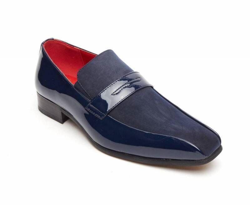 Rossellini Monzese Leder Men'S Schuhes Blau Faux Shiny Leder Monzese Wedding Moccasin Loafer ef5823