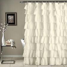 Beige Crushed Ruffle Fabric Shower Curtain (72 In.W X 72 In. L