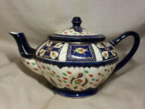 Vintage-Royal-Winton-Ivory-Ware-Blue-Red-Teapot