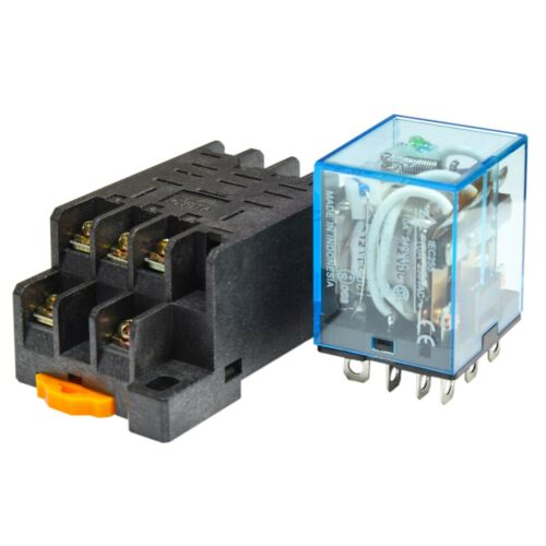 12V D//C Coil Lot of 2 10A Cube Relay with Socket Base PTF11A Omron LY3N-J