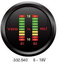 VDO Cockpit Digital Dual Voltmeter 52mm. Twin Batteries