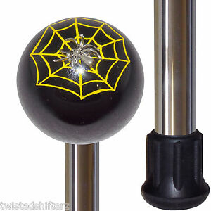 Black Spider n Web Shift Knob Handle Polished Aluminum Custom Cane Stick