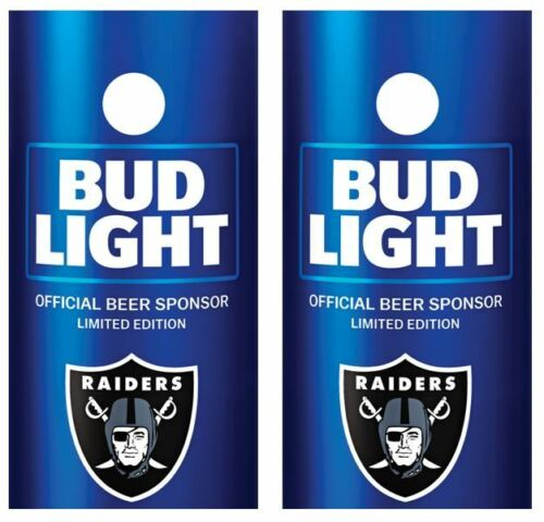 Bud Light Oakland Raiders Cornhole Board Decal Wrap FREE Laminate