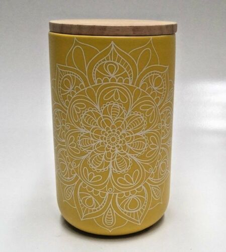 My Hub Homewares Decorator Large Ceramic Canister With Airtight Bamboo Lid