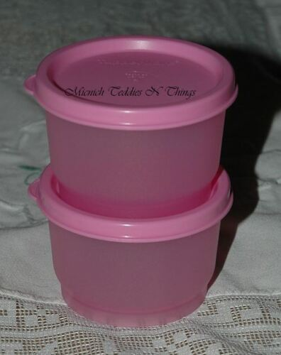 TUPPERWARE PALE PINK SNACK CUP  SET OF TWO