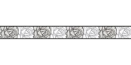 41,56€//1qm Tapetenborte Borte Rose weiß schwarz selbstklebend 9050-24