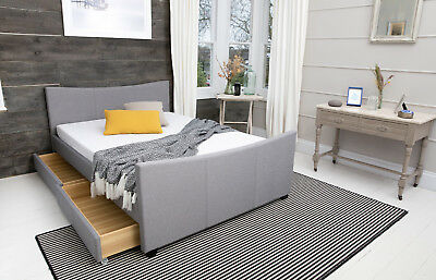 MODERN 4 DRAWERS STORAGE FABRIC BED FRAME DOUBLE OR KING SIZE BEDS + MATTRESS