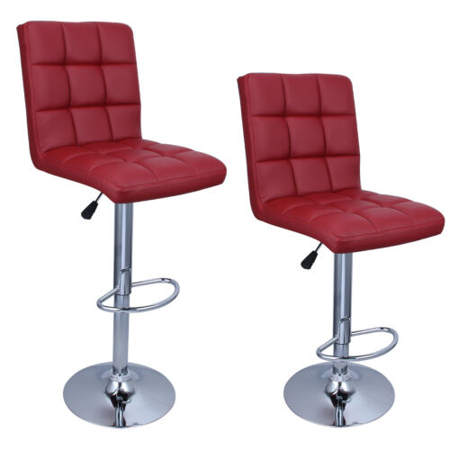 Set of 2 Modern Bar Stools Leather Hydraulic Swivel Dinning Chair Pair Barstools