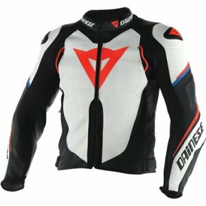 DAINESE-SUPER-SP-D1-LEATHER-JACKET-MOTORBIKE-MOTORCYCLE-BLACK-WHITE