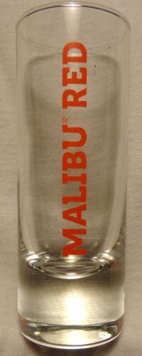 Malibu Red Tropical Rum Shot Glass....Tall....Heavy Base..NEW