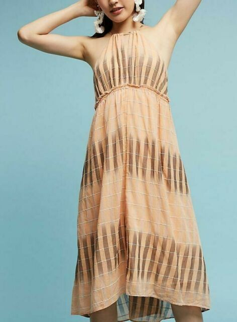 5813 Nw Akemi + Kin Anthropologie Ikat Halter Empire Waist Cotton Midi Dress XL