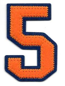 """2 1/2 """" Orange Bleu Bloc Letterman's Nombre 5 Feutre Patch"""