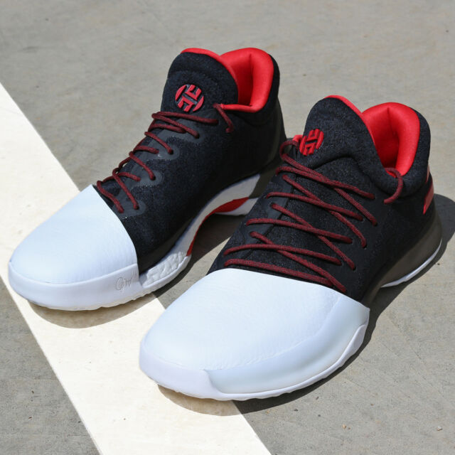 8f9f6a5523e9 adidas Harden Vol. 1 BW0546 Pioneer Black Red White Rockets Boost  Basketball DS