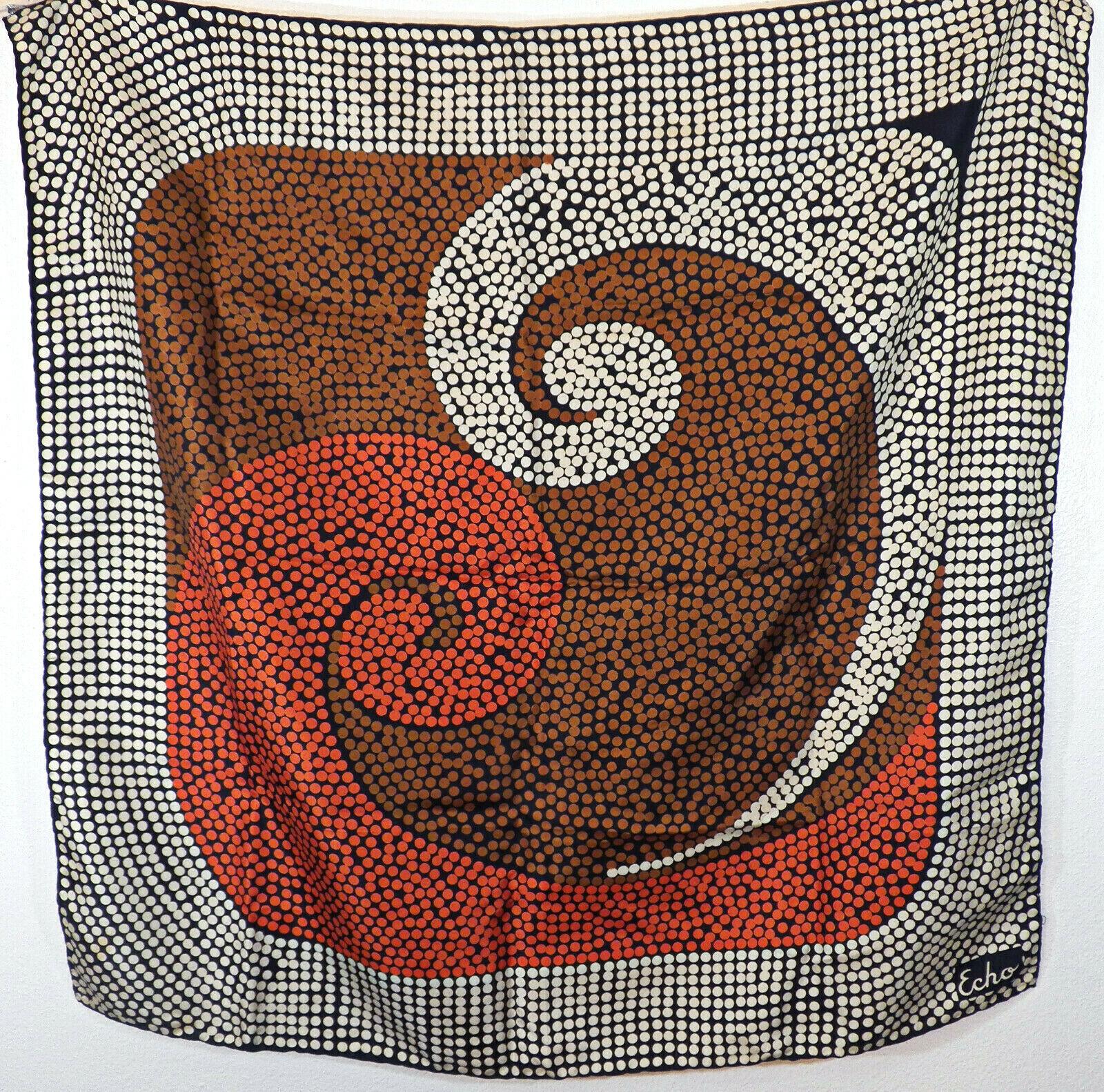 Big Vintage ECHO Italian Silk Scarf- Modernist Yi… - image 1