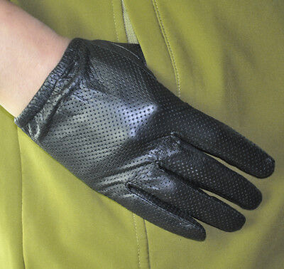 Men/'s Thin Genuine Sheep Leather Touch Screen Wrist Gloves Mesh Surface