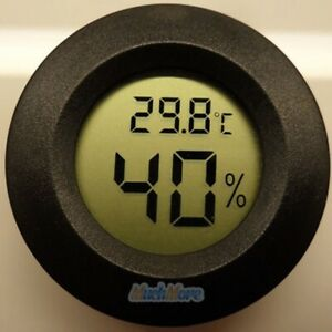 New-Digital-Cigar-Humidor-Hygrometer-Thermometer-Temperature-Round-Black-Gauge
