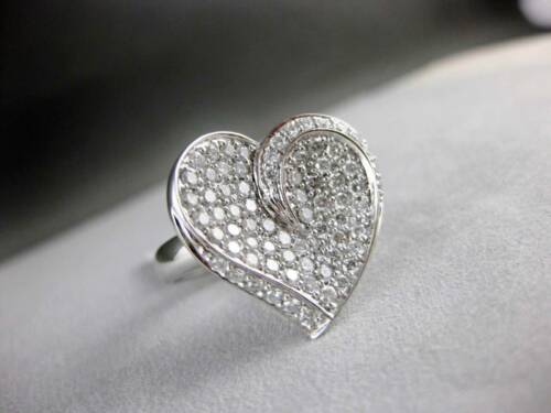 REAL 1.50CT ROUND CUT DIAMOND ENGAGEMENT HEART RING 14KT SOLID WHITE GOLD