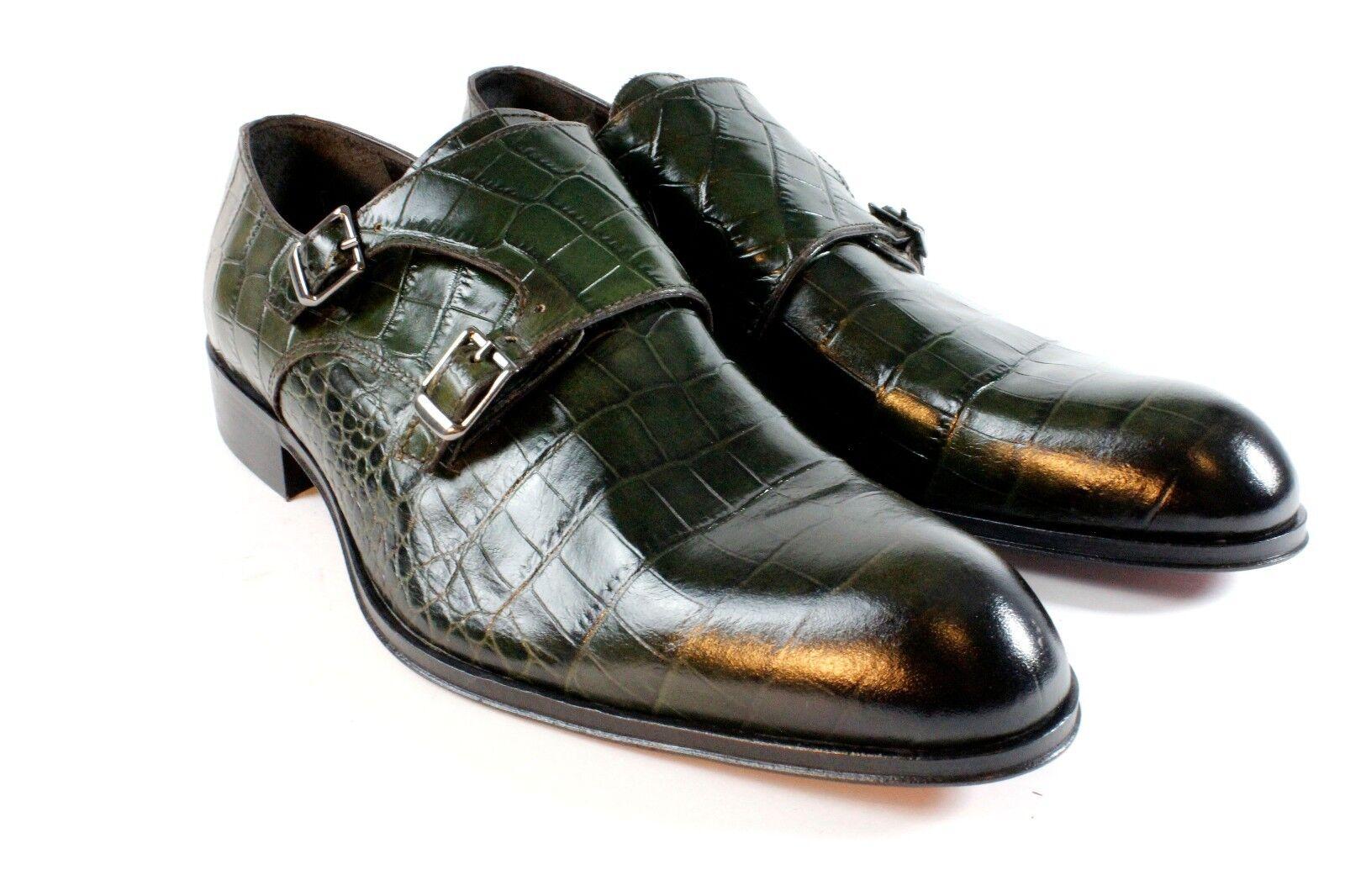 IVAN TROY Green Crocodile Handmade Double Monk Strap Italian Leather Dress Shoes Scarpe classiche da uomo