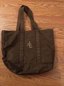 32bb61928e66 Ralph Lauren Handbag Tote Shoulder Bag Nylon RLL Logo Brown Purse ...