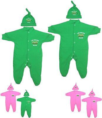 """Babyprem Twin vêtements bébé Lot de 2 grenouillères /& Chapeau Ensembles /""""Petits Pois Pod/"""" 0-9 m"""
