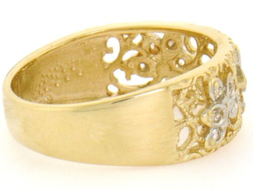 10k or 14k Solid Yellow Gold Filigree Leaf Design CZ Band Ring