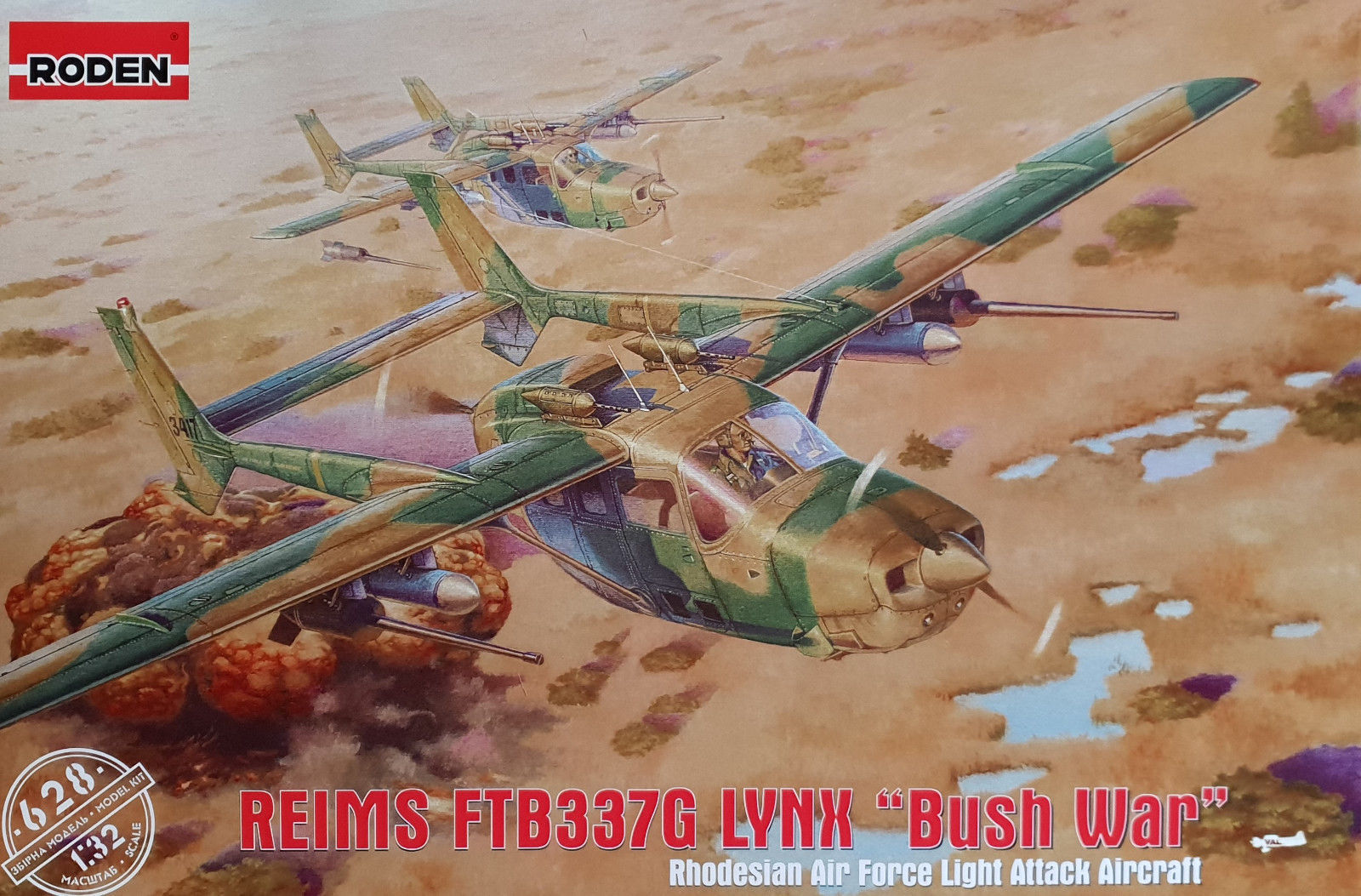 RODEN 628 Reims FTB337G Lynx  Bush War  in 1 32