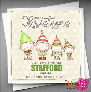 image is loading personalised cute christmas card pack x 10 20 - Elf Christmas Card
