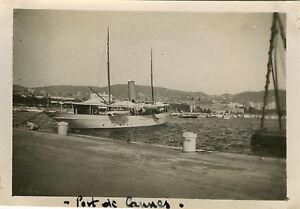PHOTO-ANCIENNE-VINTAGE-SNAPSHOT-CANNES-BATEAU-MER-PORT-BOAT-HARBOR-1929
