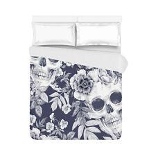 Retro Flowers Sugar Skulls Home Bedding Duvet Cover Quilt Cover 86 x 70 Inch