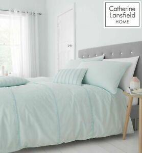 Catherine-Lansfield-Luxury-Pom-Pom-Duvet-Cover-Bedding-Set-Mint-Green-Free-P-amp-P
