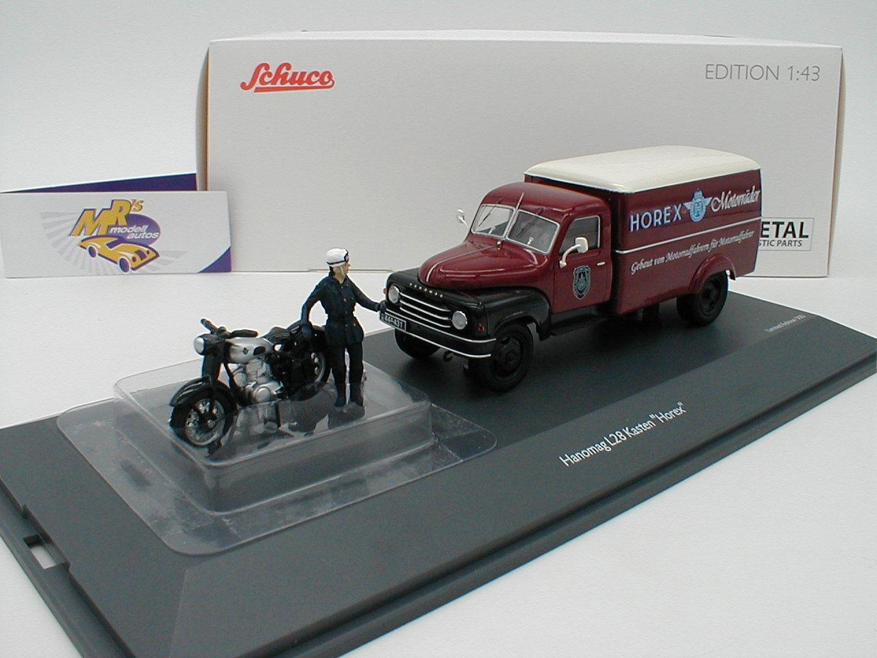 Schuco 02939-HANOMAG l28 enré voiture avec Horex Regina et Conducteur personnage 1 43 Nouveau