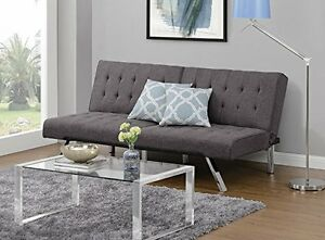 Image Is Loading Tiny House Grey Futon Sofa Couch Chaise Multi