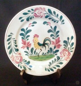 c-1930-Creil-and-Montereau-Rooster-Cockerel-Plate-20-5cm-FREE-Delivery-UK
