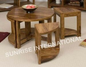Image Is Loading Sheesham Wood Wooden Round Coffee Center Table With