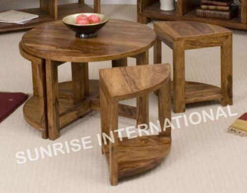 Sheesham wood   Wooden round coffee center table with 4 stools. Sheesham wood   Wooden coffee table with 4 stools     eBay
