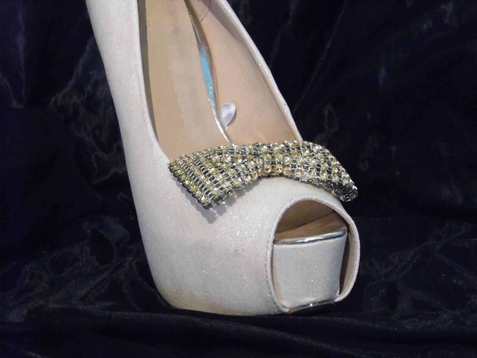 2 Gold Diamante Style Bow Shoe Clips