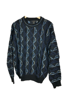 Protege-Men-039-s-Size-M-Crew-Neck-Sweater-Cosby-Coogi-Biggie-Style-Black-Blue-Knit