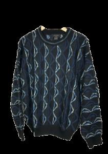 Protege-Herren-Groesse-M-Rundhals-Pullover-Bill-Cosby-COOGI-Dicker-Style-schwarz-blau-Strick