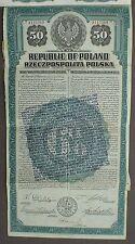 6% Polen Republic of Poland 50 US$ Gold Bond 1920 unentwertet mit Kuponbogen