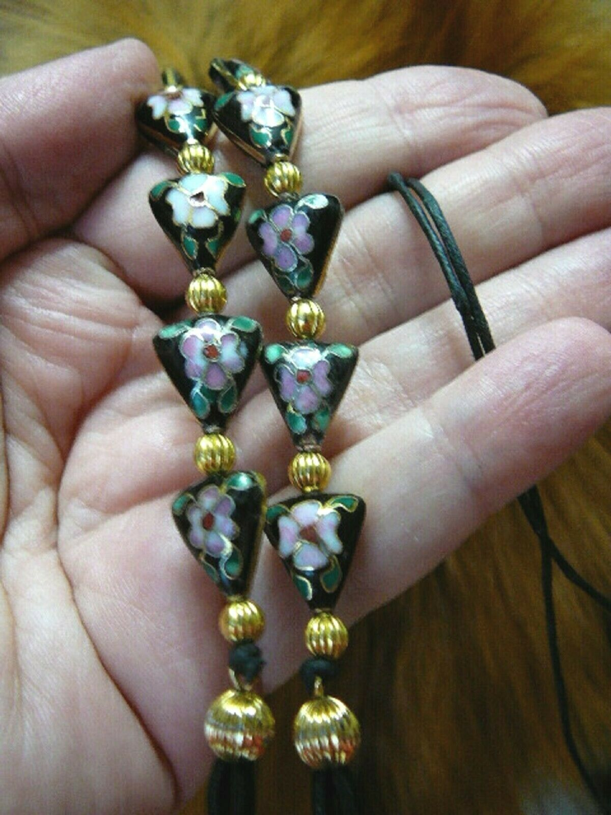 ( E66-64) Black Cloisonne triangle beaded Eyeglass leash holder chain necklace
