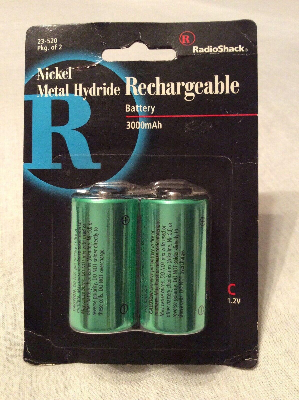 """NEW/RARE"" PACK OF 2-RADIO SHACK ""C"" Ni-MH Recharge 3000mAH Battery #23-520"
