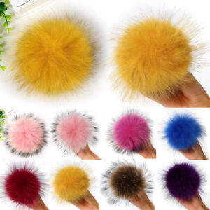4a6b5e670e9 New Multicolor Raccoon Fur Fluffy Pom Pom Ball with Snap Button Hat ...