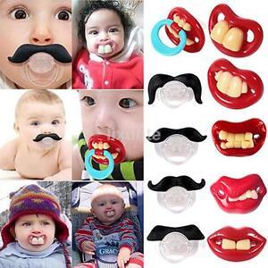 Funny Teeth Mustache Baby Boy Girl Infant Pacifier Orthodontic Dummy Nipples LX