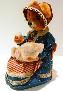 Battery Op Vintage JAPAN 1950's Tin Toy HUNGRY Baby Bear Drinking Bottle, Video
