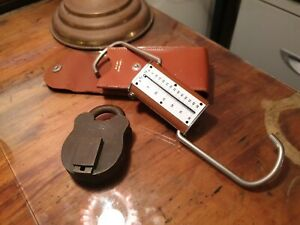 Vintage-padlock-secure-4-lever-No-key-plus-weight-scales