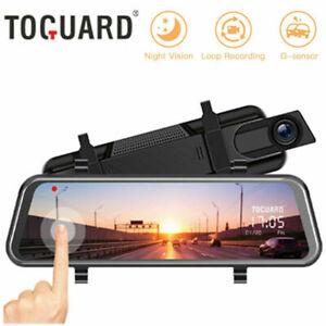 "TOGUARD 10"" Rear View Mirror DashCam Car Streaming Touch Screen Dual Lens Camera"