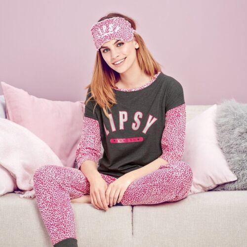 AB AVON Lipsy Pink Leopard Print Pyjamas /& eye mask size 18-20 New Ideal Gift