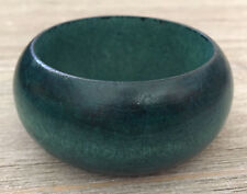 Teal Blue-Green Color Stained Wide Natural Wood Bangle Bracelet