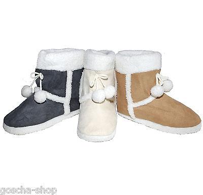 Damen warme Hüttenstiefel Hausschuhe gefüttert Pantoffel Hüttenschuh Schuhe Fell